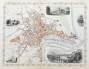 Antique Map of Aberdeen by rapkin and tallis for sale