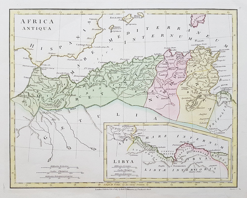 Historical antique map of North Africa