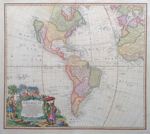 Antique map of Noth and South America
