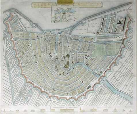 Antique Town Plan Of Amsterdam Dated - Antique maps amsterdam