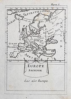 Ancient Europe map by Mallet circa 1683