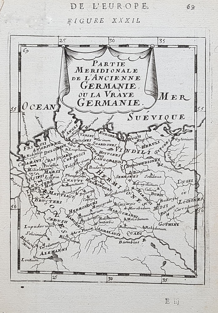 17th century map of North Germany by Mallet