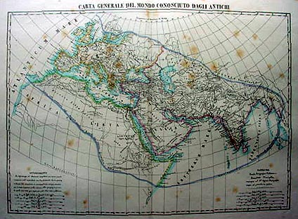 Antique Italian Map of the Ancient World