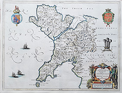 Angelsey and Caenarvonshire map by Blaeu for sale
