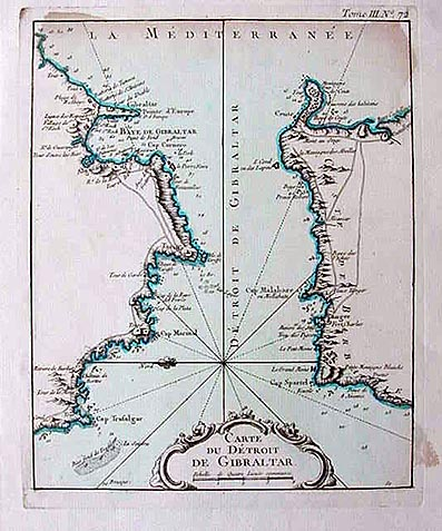 A hand coloured antique map of Gibraltar and North Africa   French