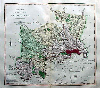 Antique map of middlesex