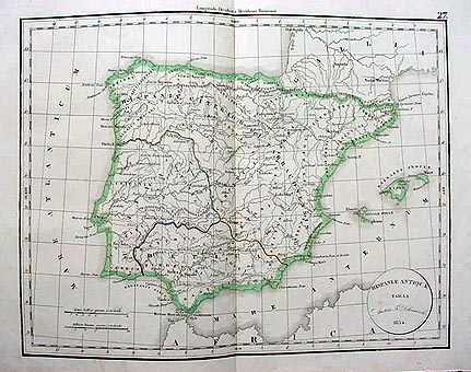 Antique map of Spain 1854