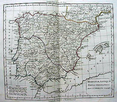 Original Antique Map 19th Century Ancient Spain Dated Circa 1820