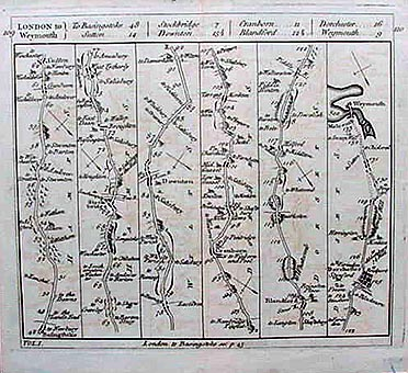 Antique Raod Map - London to Weymouth by Carrington Bowles