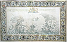 Spanish Armada off Devon chart by John Pine