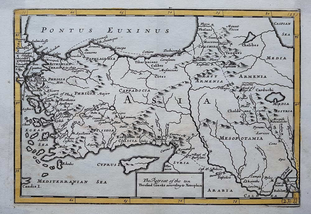 Early 18th century map of Asia Minor for sale by Herman Moll - The Retreat of the ten Thousand Greeks according to Xenophon