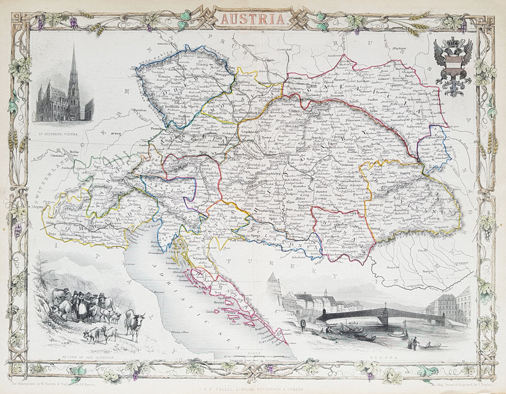 AUSTRIA antique map by Tallis and Rapkin
