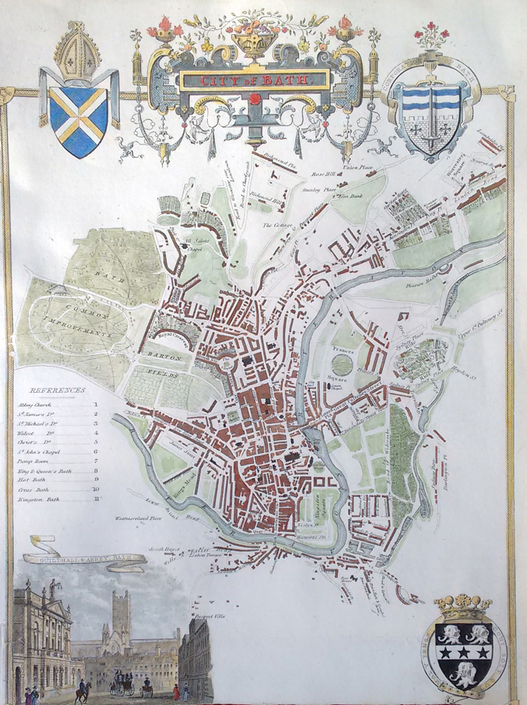 Bath antique map by Thomas Moule