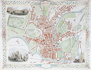 Antique City Map of Bath by rapkin and tallis for sale