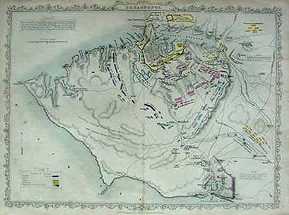 Antique map of the Siege of Sebastapol