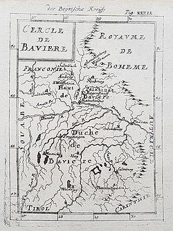 Bavaria 17th century map by Mallet
