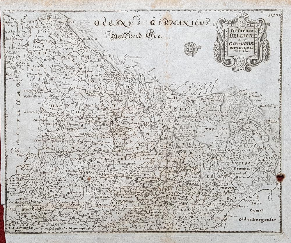Antique Map of Belgium by Philipp Clüver