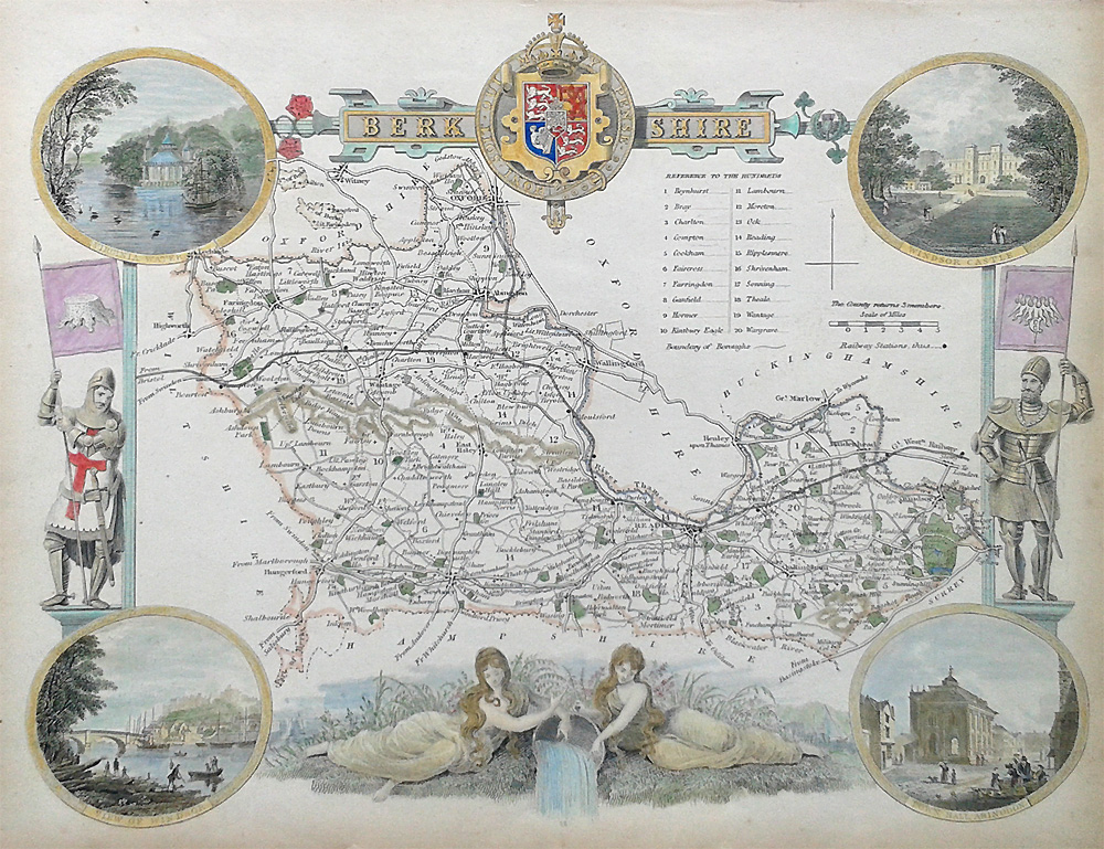 Old Maps Of Berkshire By Thomas Moule Circa 1850