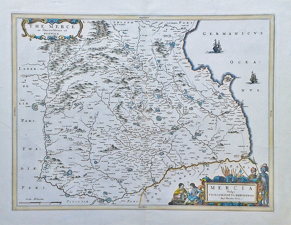 Original 17th century map of Berwickshire by Joan Blaeu for sale