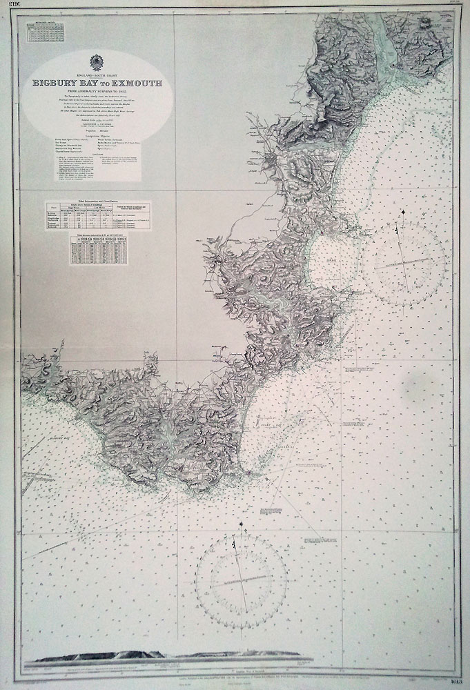 Old nautical chart - Bigbury Bay to Exmouth