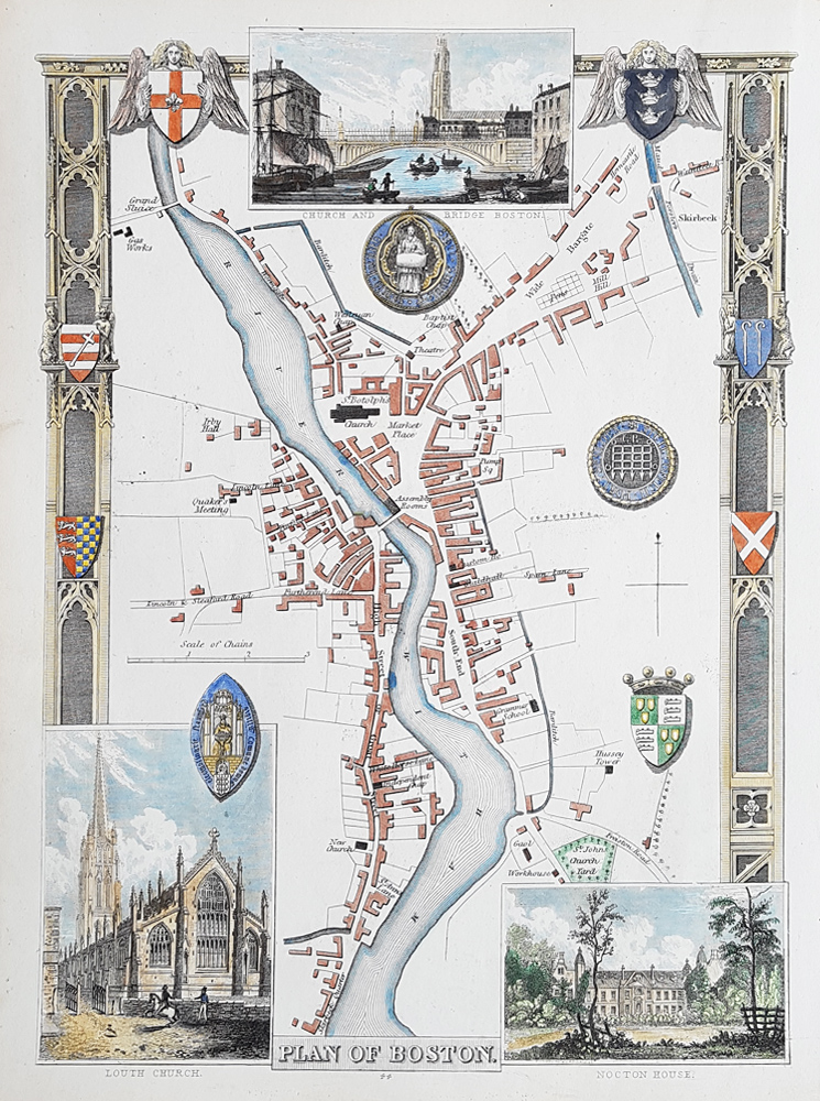 old maps of boston lincolnshire Antique Town Plan Map Of Boston Lincolnshire Thomas Moule old maps of boston lincolnshire