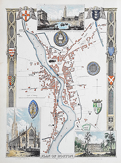 Thomas Moule map of Boston Lincolnshire for sale