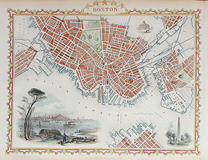 Antique Map of Boston USA by rapkin and tallis for sale
