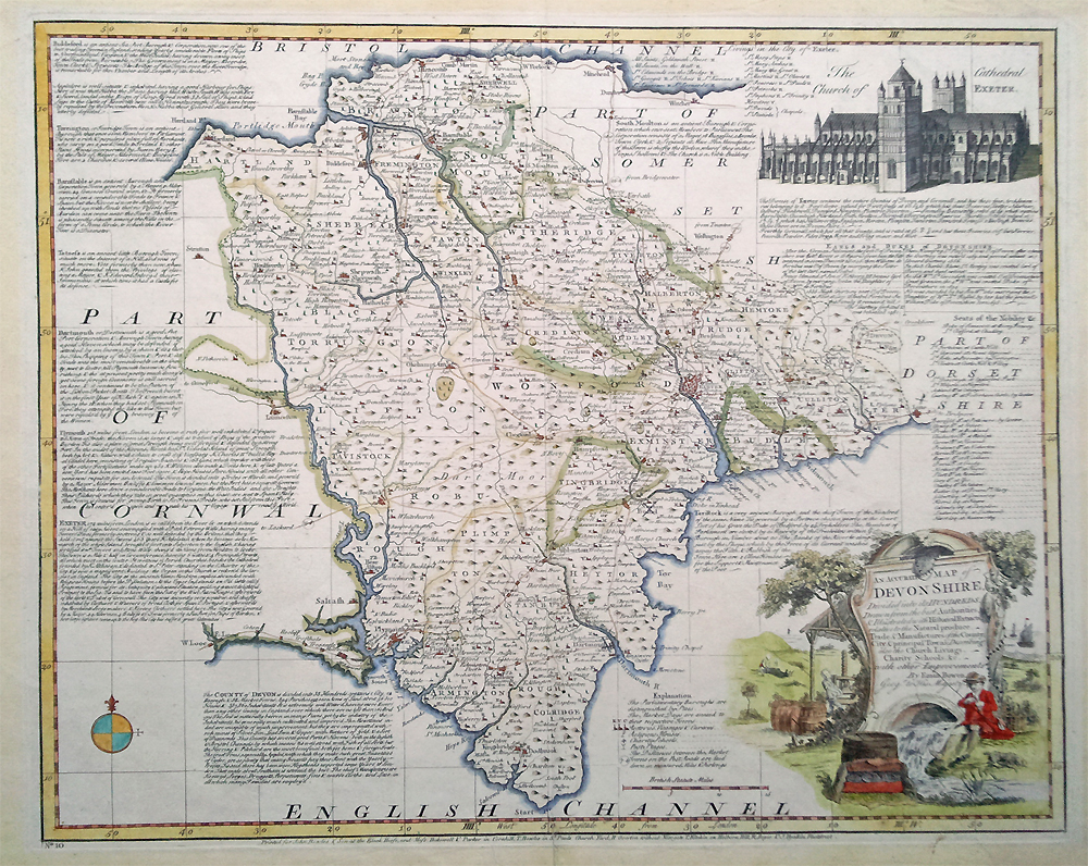 18th century map of Devonshire by Bowen