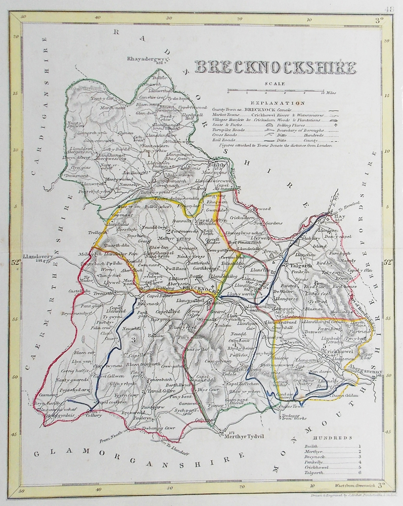Brecknockshire 19th century map by Archer for sale
