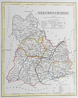 Brecknockshire antique map