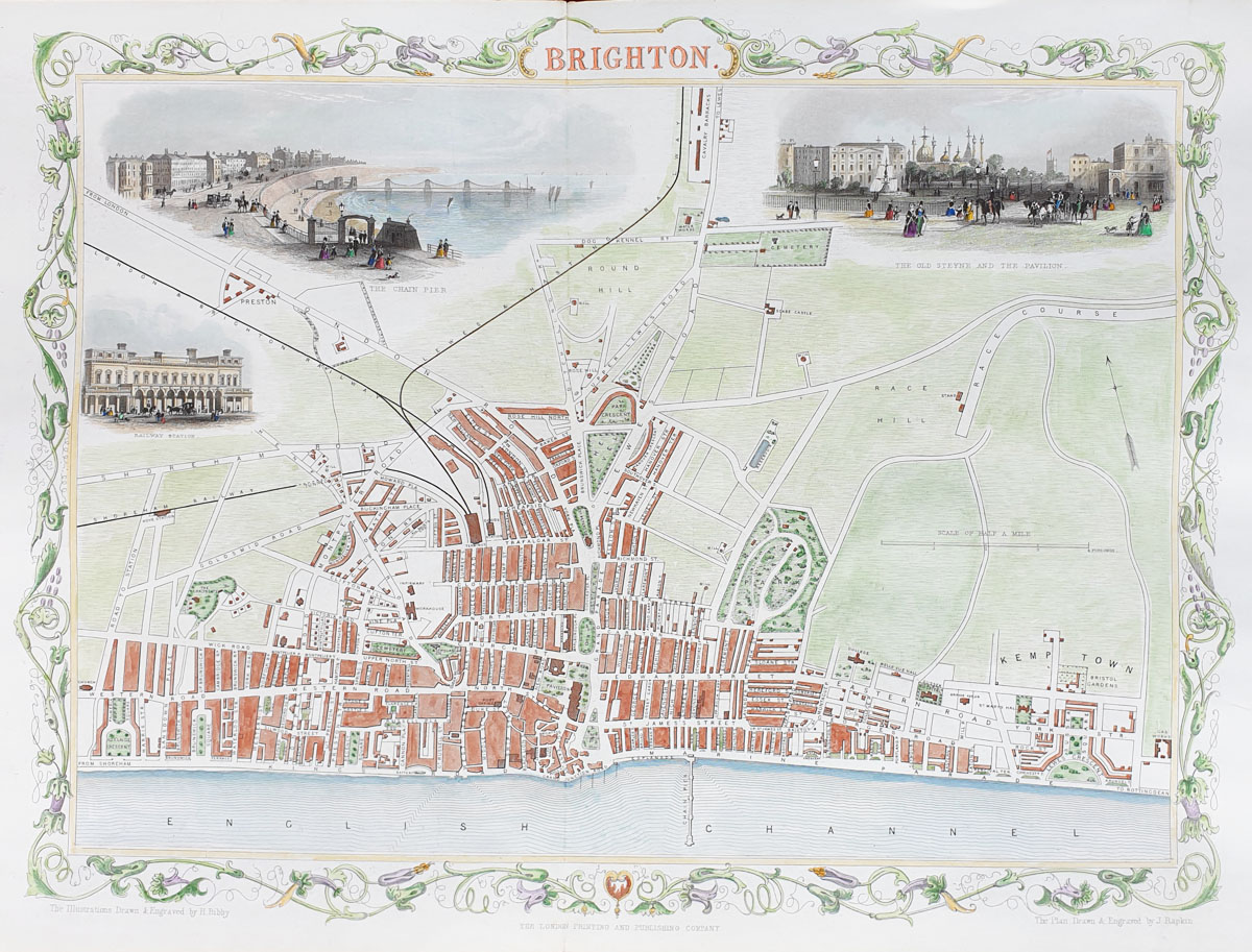 Brighton Antique Town Plan by Rapkin