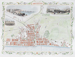 Antique Map of Brighton by rapkin and tallis for sale