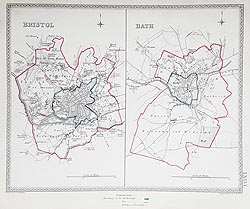 Bristol and Bath 19th century town plans