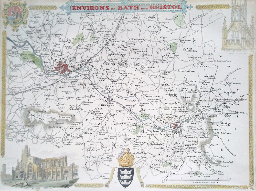 Bristol and Bath antique map by Thomas Moule
