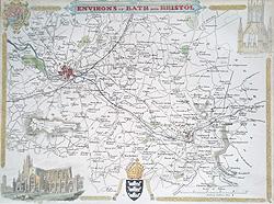 Bristol and Bath Map of NE Somerset by Thomas Moule