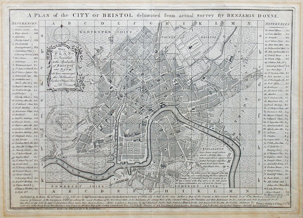 Old town plan of Bristol 18th century