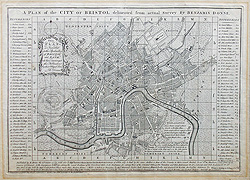 Antique City Map of Bristol for sale - Benjamin Donn
