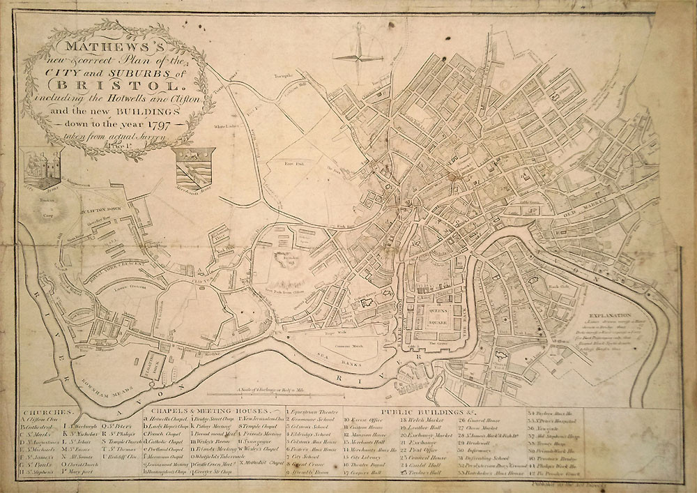 Old city map of Bristol 1797