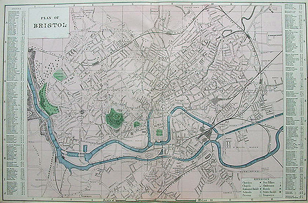 Map Of Uk Bristol.Antique 19th Century Street Map Of Bristol