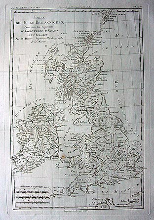 Antique French map of The British Isles