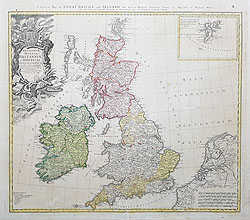 Britain and Ireland 18th century map by Homann