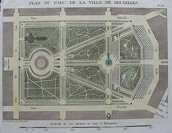 Antique Plan Of Brussels Park Dated Circa 1790