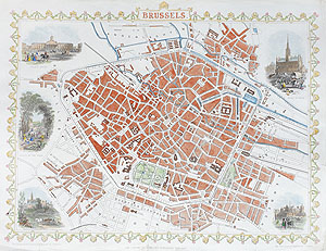 Antique Map of Brussels by rapkin and tallis for sale