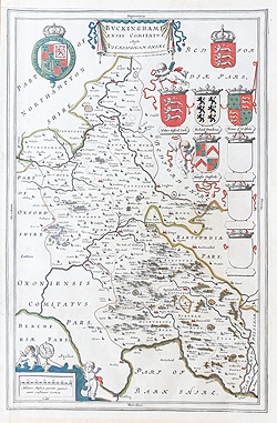 Antique Map of the Buckinghamshire by Joan Blaeu for sale