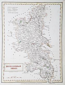 Buckinghamshire old county map