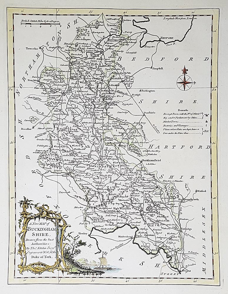 Antique Map 18th century map of Buckinghamshire by Thomas Kitchin on