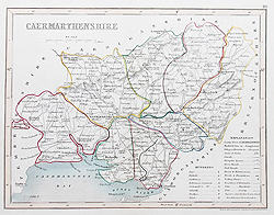 Camarthanshire antique map for sale