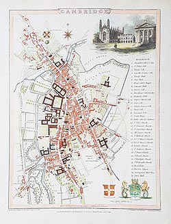 Cambridge City antique map for sale