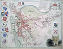 Old town map of Cambridge by Moule