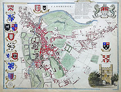 Moule map of Cambridge City and University colleges